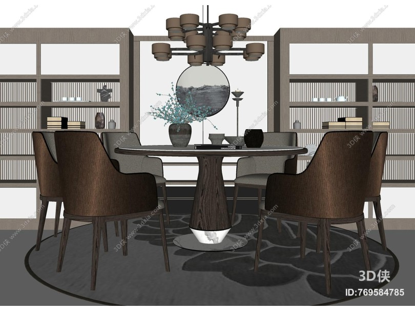 新中式餐桌餐椅组合