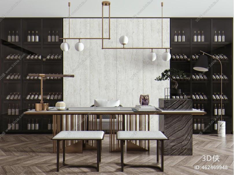 现代茶桌椅组合 酒柜 茶桌
