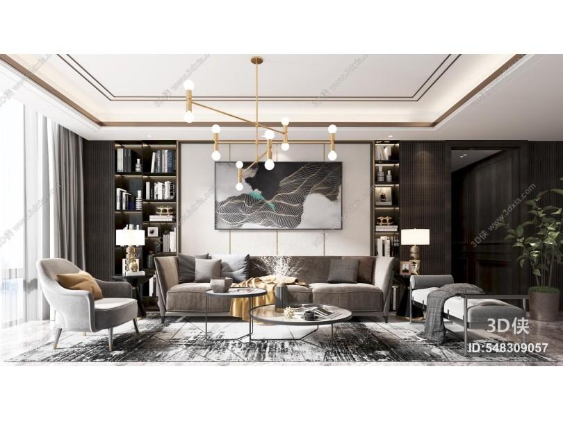 現代客廳 沙發 茶幾