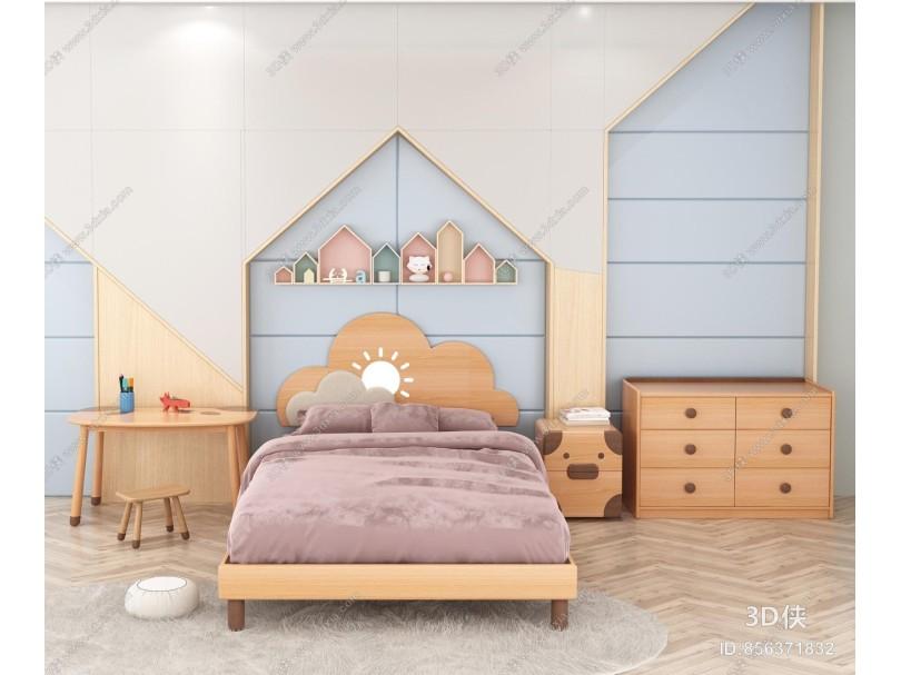 北欧儿童床 斗柜 桌子
