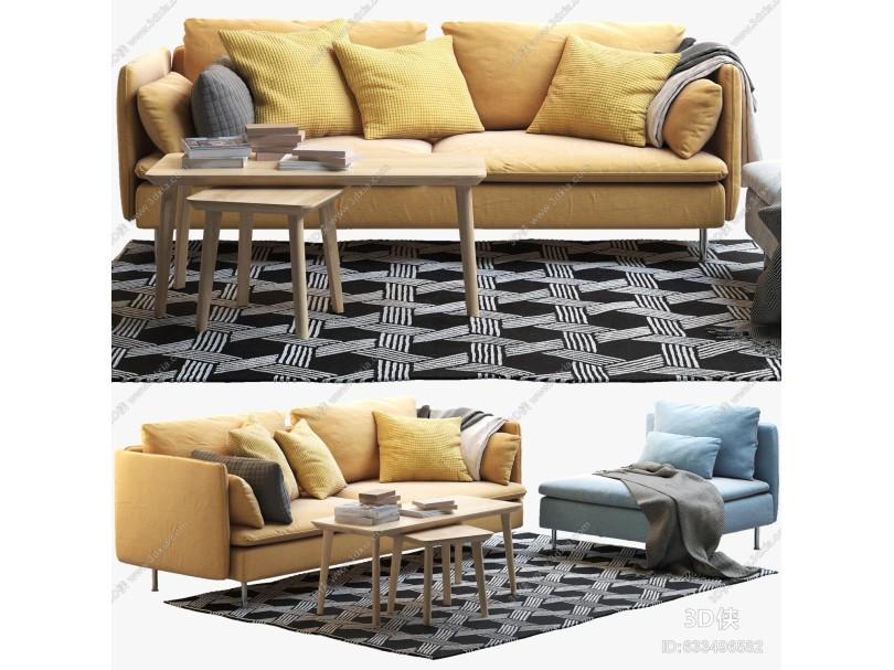IKEA宜家双人沙发单人沙发茶几角几组合