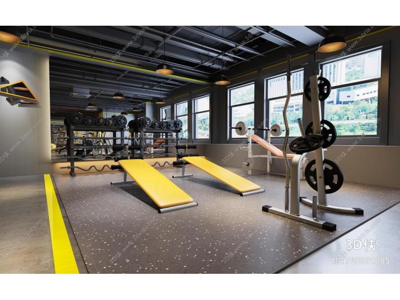 工业风瑜伽健身房 吊灯 健身器材