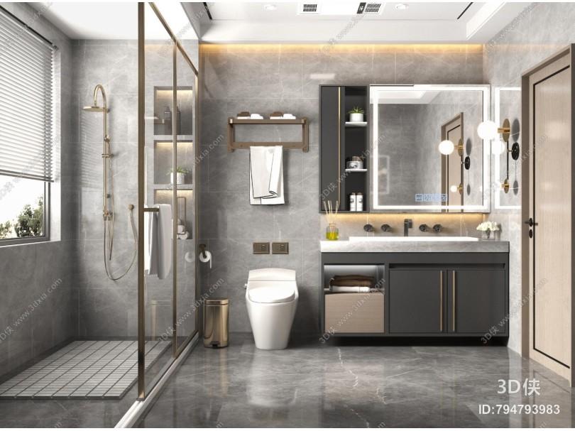 现代卫生间 洗手台盆 卫浴柜