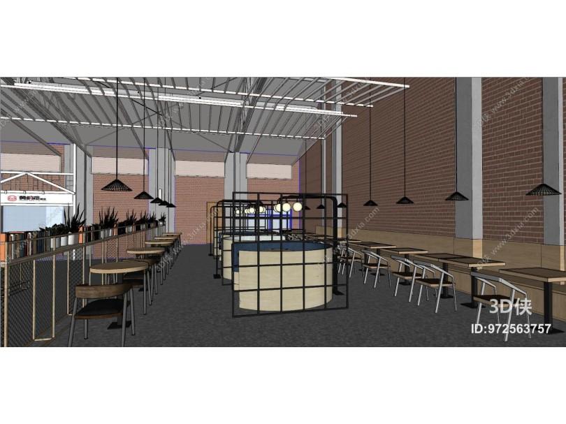 现代员工食堂 餐厅 休闲区