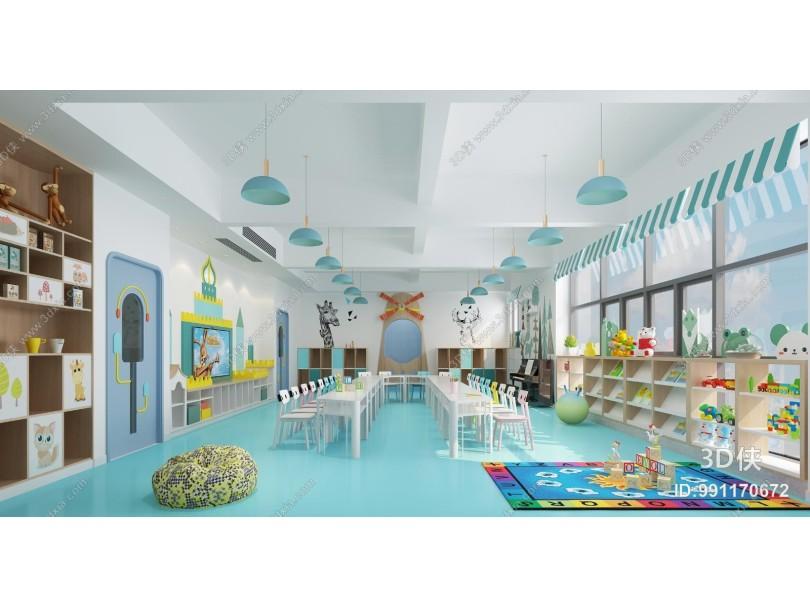 现代幼儿园教室 吊灯 桌椅