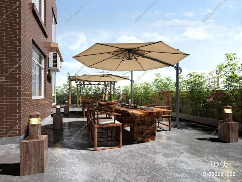 新中式露天阳台 茶桌