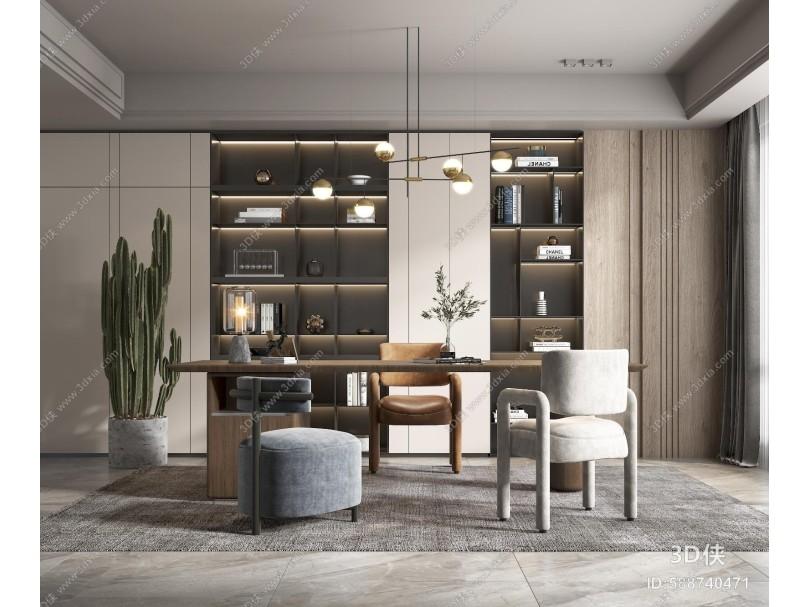 现代家居书房 书桌 椅子
