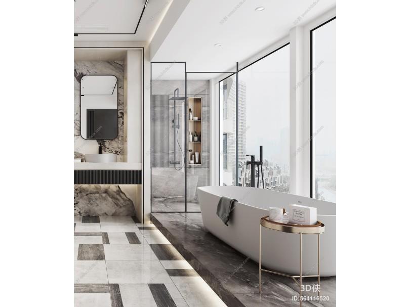 现代卫生间 马桶 浴缸