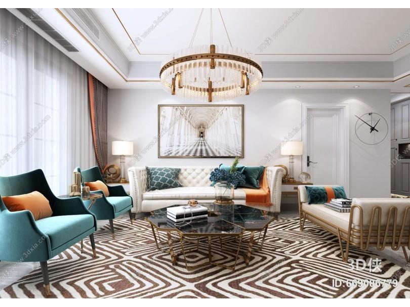 美式沙发茶几组合 吊灯 窗帘