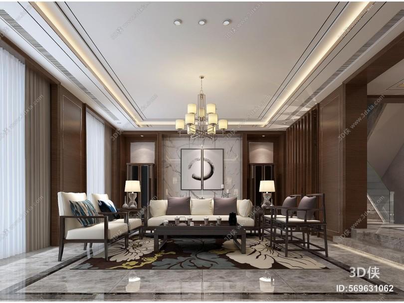 现代客厅 沙发 茶几 地毯 吊灯台灯 壁灯