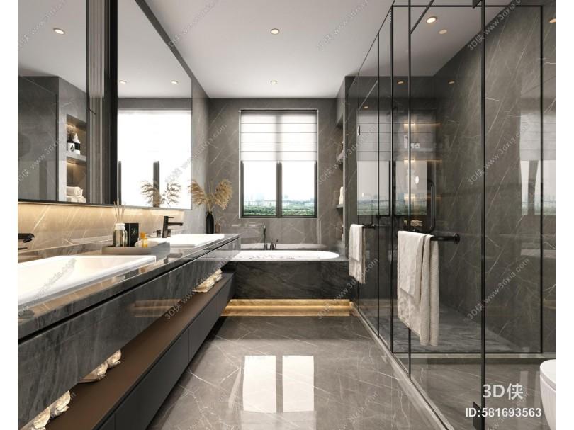 现代轻奢卫生间 浴室柜镜子 卫浴用品