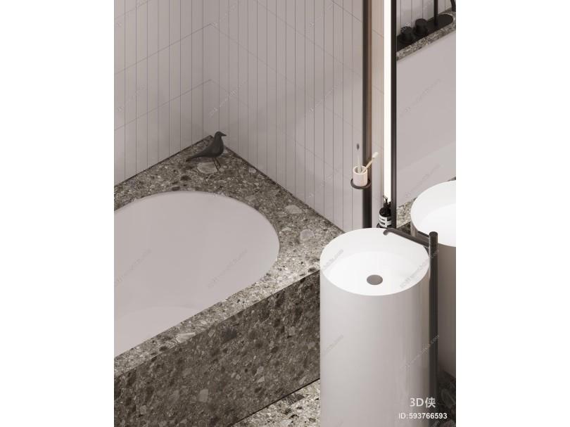 现代卫生间 马桶 洗手池 浴缸 墙砖 毛巾