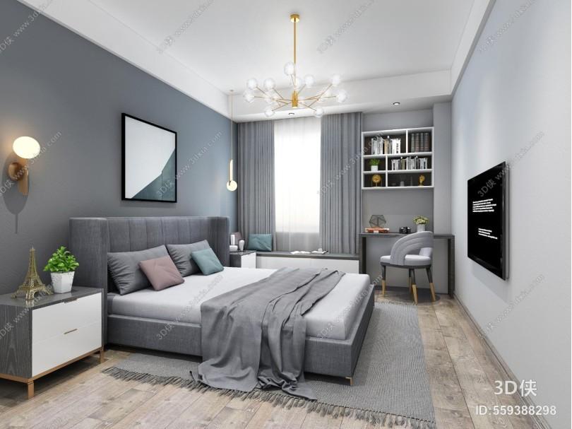 现代卧室 床头柜 饰品