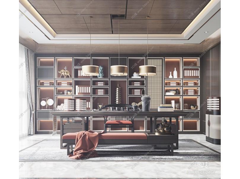 新中式书房 茶室 书桌
