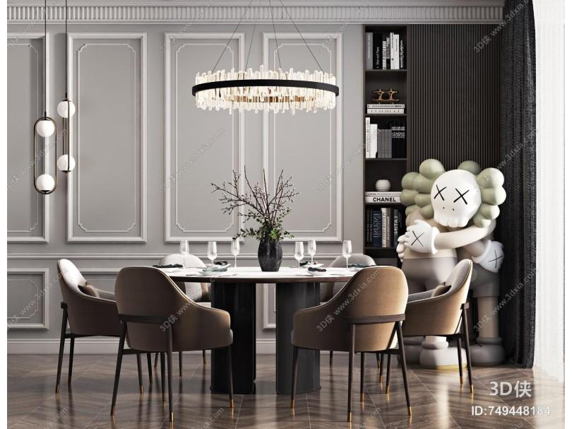 现代餐桌椅组合 花瓶 饰品组合