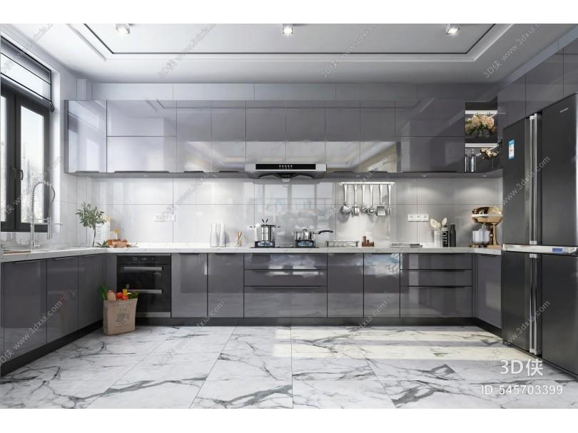 现代厨房 亚克力门板橱柜 厨房电器