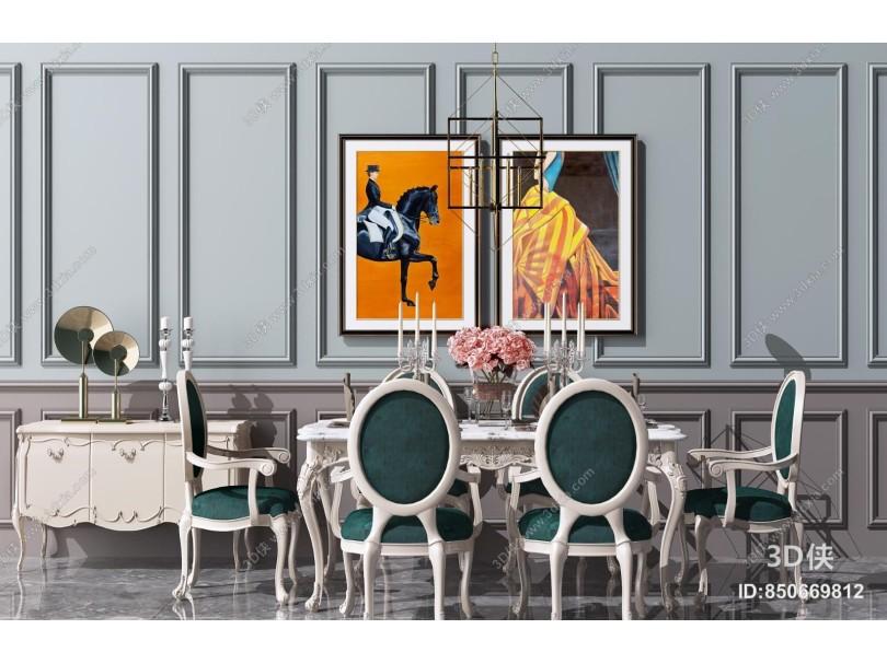欧式餐桌椅组合 餐边柜 金属吊灯