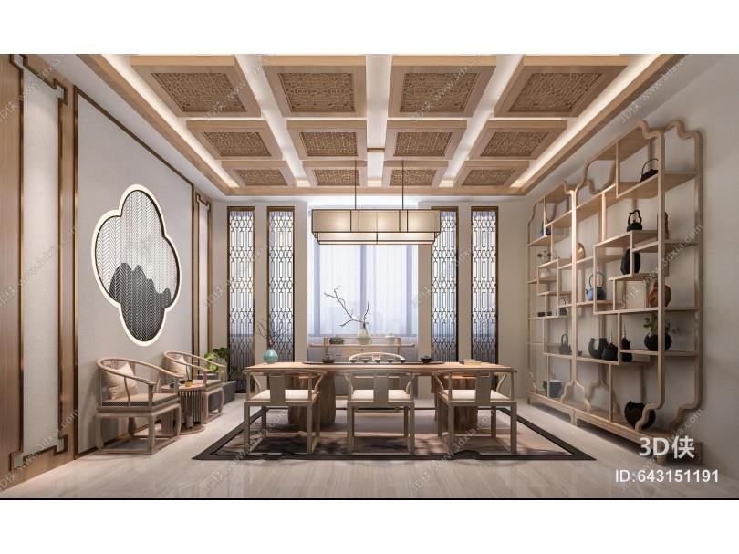 新中式茶室 桌椅 博古架 茶具 吊灯