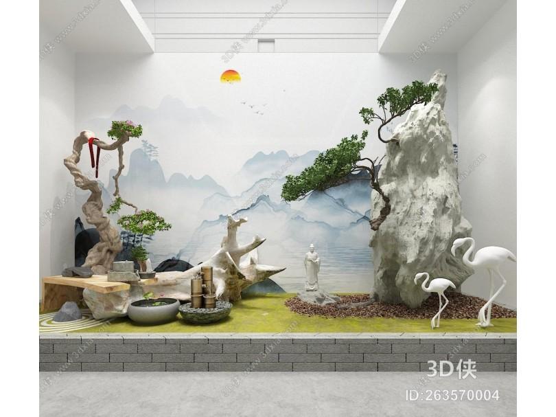 中式园林景观 盆景 景观小品