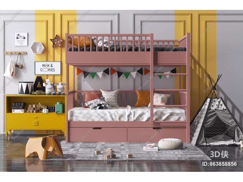 现代儿童床 上下铺 边柜
