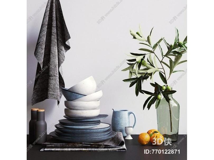 现代厨具 碗碟 花瓶