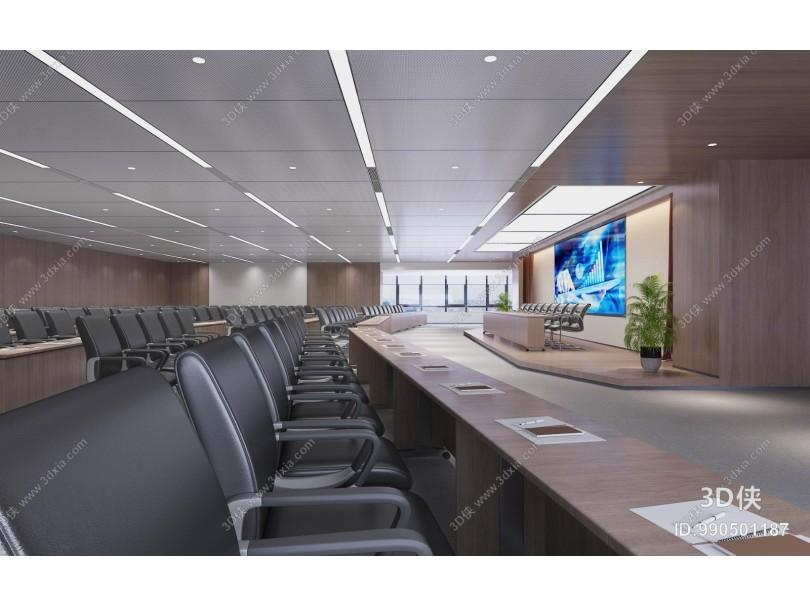 现代会议室 培训室 投影仪 会议桌椅
