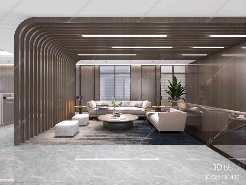 现代风格办公休息区 沙发茶几 隔断