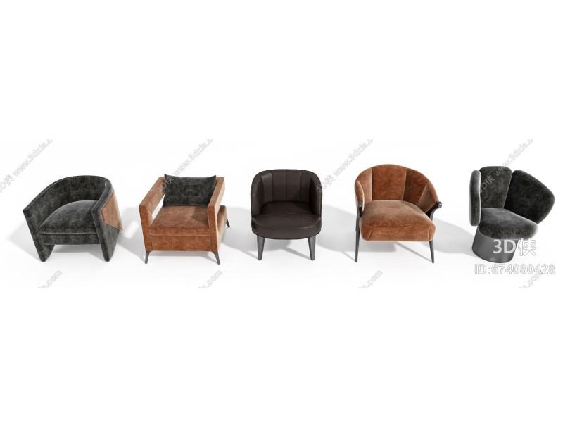 现代休闲单人沙发组合