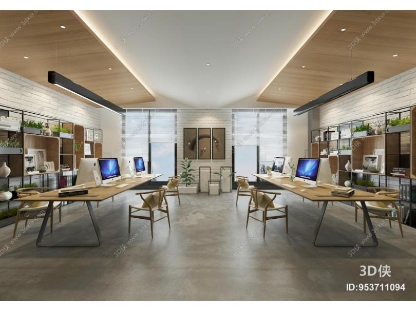現代辦公室 吊燈 辦公桌椅