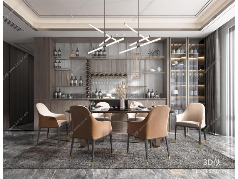 现代风格餐厅 餐桌 餐椅