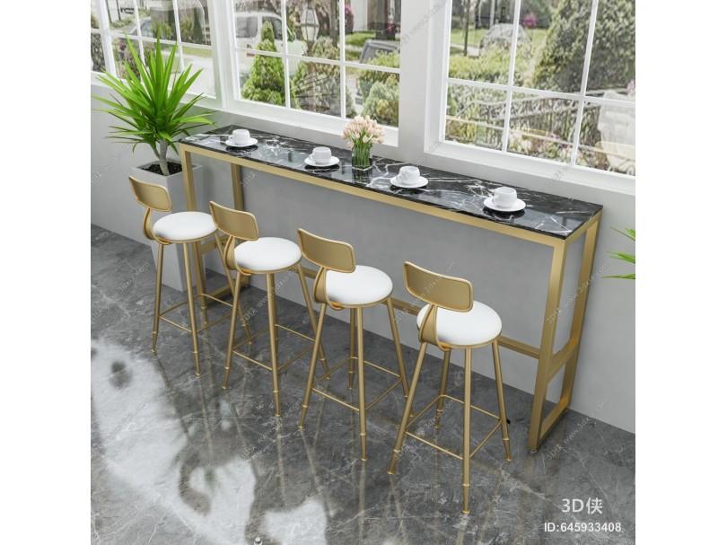 现代奶茶店 高脚吧台 桌椅组合