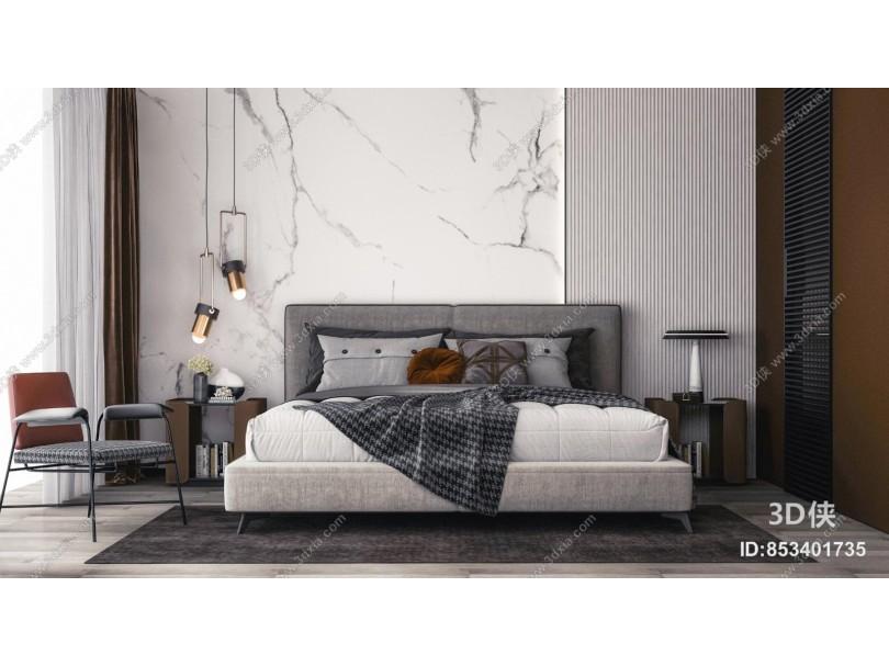 現代輕奢雙人床 休閑椅組合