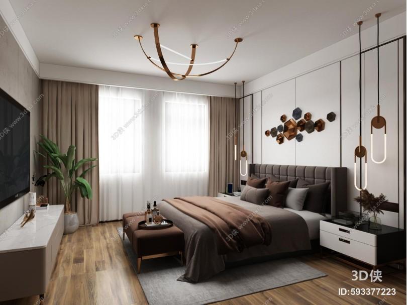 现代卧室 吊灯 墙饰