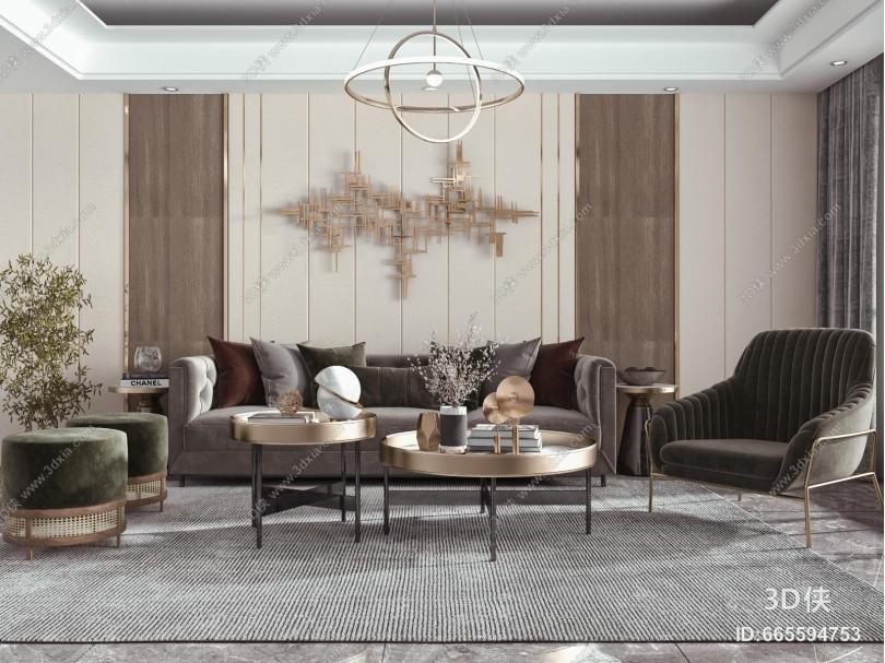 现代客厅 多人沙发 墙饰