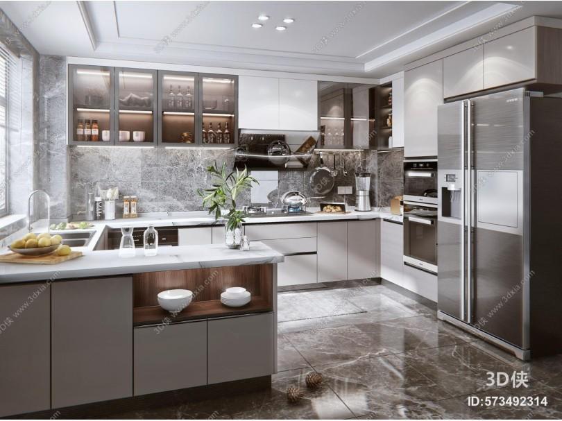 现代风格厨房 橱柜 油烟机