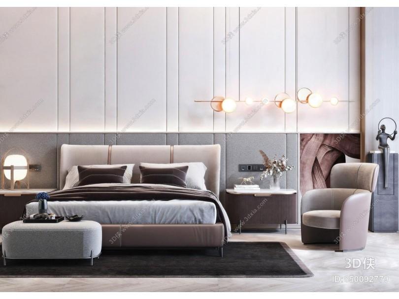 现代轻奢双人床 床头柜组合