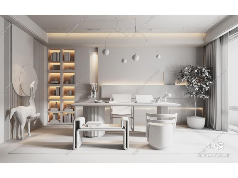 现代别墅书房 书桌