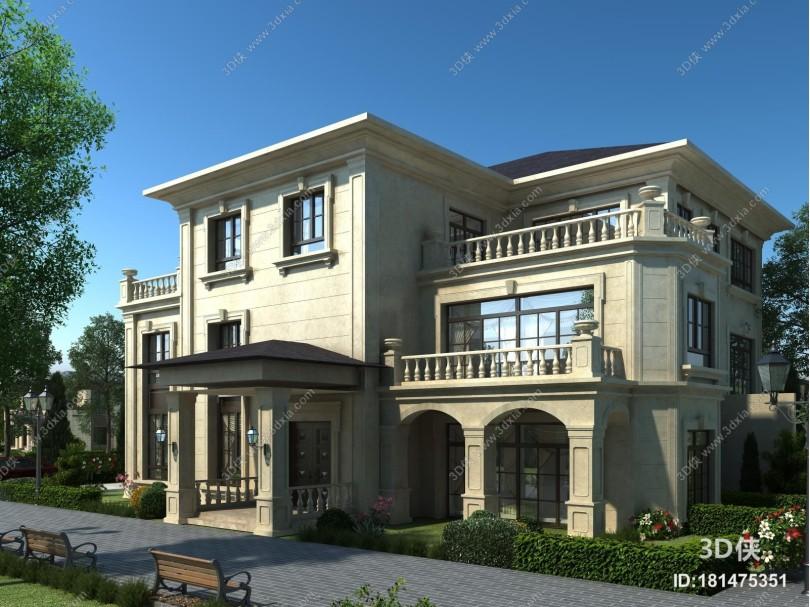 欧式简约独栋别墅外观 别墅自建房 农村自建房