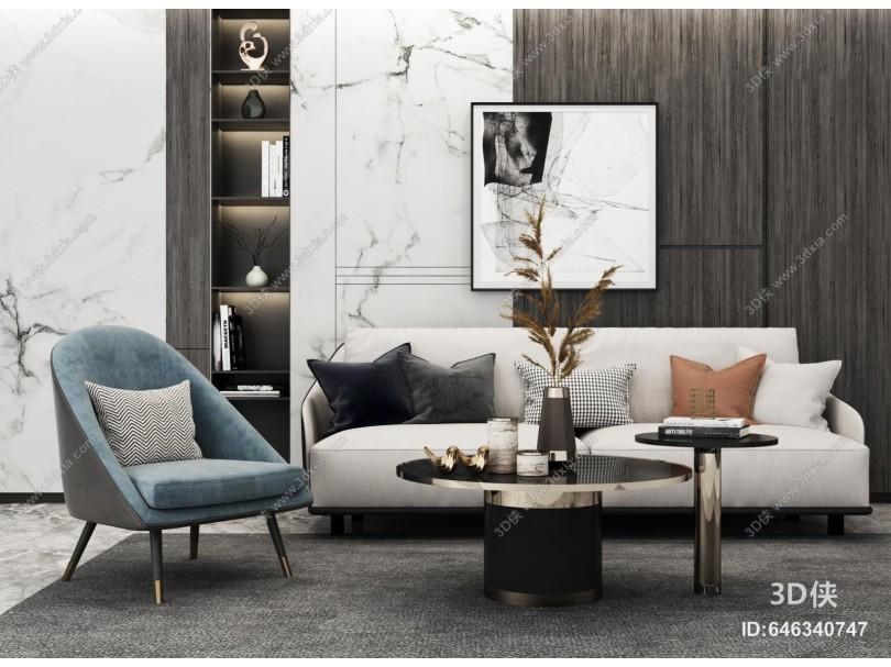 现代多人沙发组合