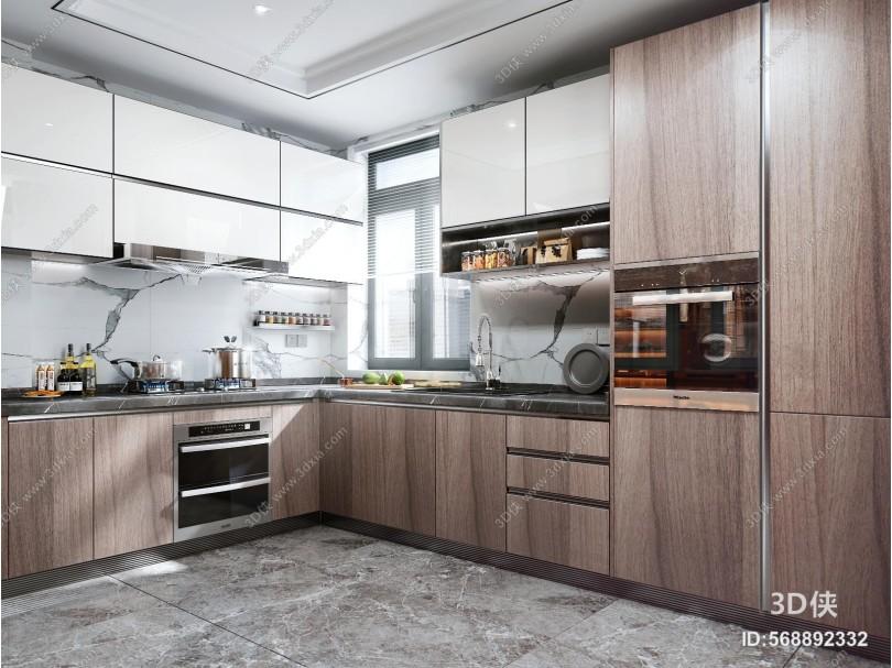 现代风格厨房 橱柜 消毒柜 烤箱