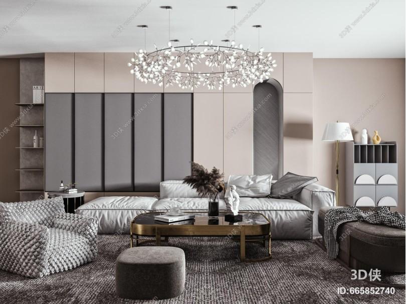 现代沙发茶几吊灯组合 布艺沙发 单人沙发