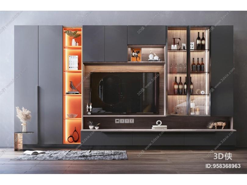现代风格电视墙 装饰柜 装饰品 摆件