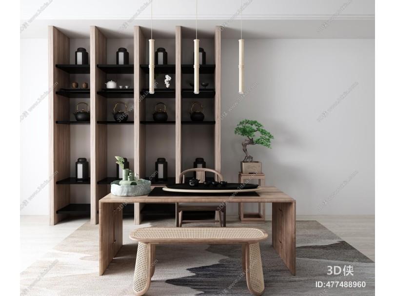 新中式茶桌椅 置物架
