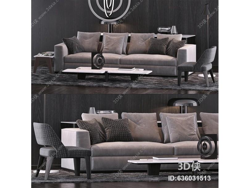 意大利Minotti米洛提现代布艺双人沙发单椅茶几组合