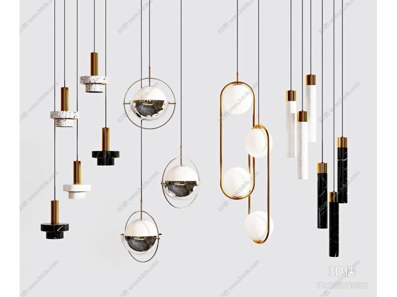 现代吊灯组合 轻奢金属吊灯