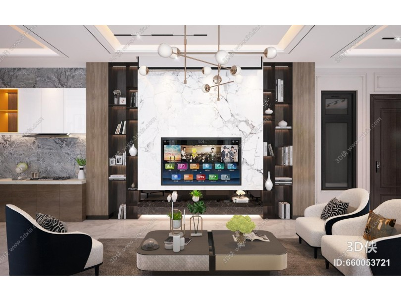 现代轻奢组合沙发 电视墙