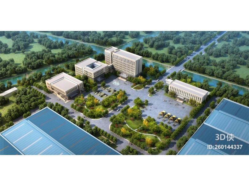 现代厂房 办公楼 厂区