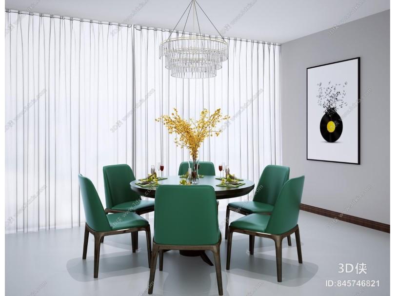 新中式圆形餐桌椅 水晶吊灯