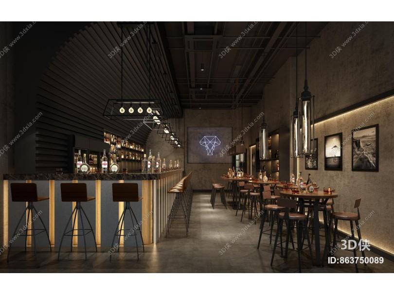 工业风格酒吧 吧台 吧椅