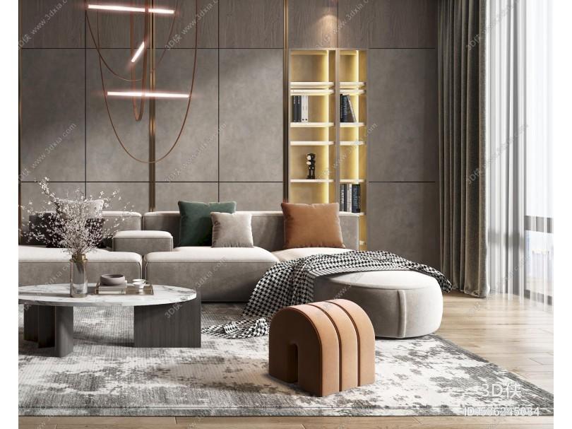 现代客厅 沙发 椅子